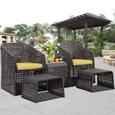 Gym EquipmentOutdoor Rattan Furniture Set With Footstools  Piece - Rattan furniture set