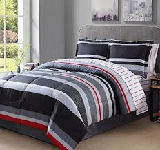 Striped Comforter Boys King Rugby Stripes Comforter Set Gray White Grey Black Red