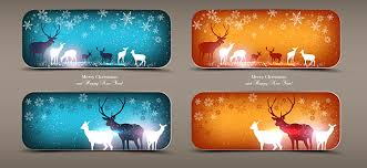 happy new year invitation elk merry christmas and happy new year invitation 2 free vector