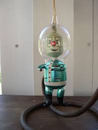 vintage gold martian spaceman italian glass ornament