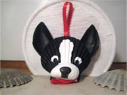 painted seashell ornament boston terrier black and