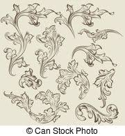 collection of vector vintage swirl ornaments for design stock