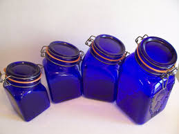 blue kitchen canister vintage cobalt blue glass kitchen canister set s products