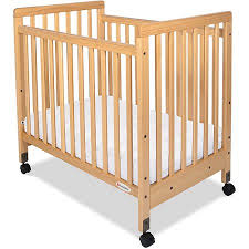 foundations safetycraft portable crib with mattress natural