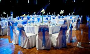 blue chair sashes chair cover hire sash bows hire wedding table swagging venue