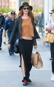 black maxi skirt with slit behati prinsloo went grunge in a black maxi skirt with a thigh