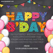write name on birthday greeting cake cards wishes greeting card