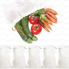 ustensile cuisine bio sacs réutilisable tissu bio fruits et légumes lot de 5