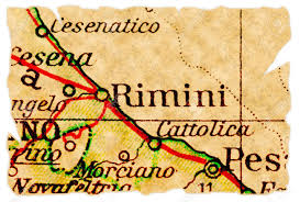Italy On Map Rimini Italy On An Old Torn Map From 1949 Isolated Part Of