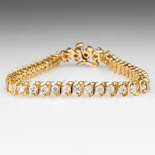 bracelet gold diamond tennis images S quot link 4 carat diamond tennis bracelet 14k gold jpg