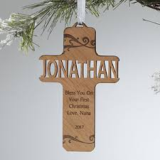 personalized christian cross ornaments bless this child