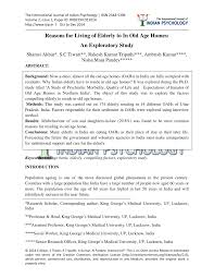 introduction to psychology study guide reasons for living of elderly to in old age homes an exploratory