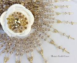 Crystal Baptism Favors Honey And Gold Mini Rosary Baptism Favors 40 Pcs All Crystal Beads