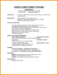 employment resume exles application resume sle curriculum vitae exle apply for