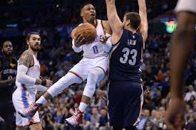 westbrook dominates late leads thunder past grizzlies the franchise