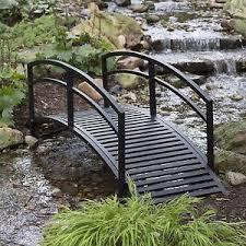 yard bridge outdoor garden bridge metal 8ft backyard decor walkway black pond