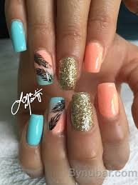nail design for anytime of the year gel shading turquoise and
