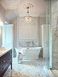 Luxurious French Bathroom Features A French Crystal Chandelier - Bathroom chandelier