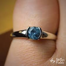 fields wedding rings blue montana sapphire bezel ring modern minimal ethical
