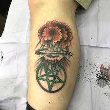anthrax pentagram logo and mushroom cloud by anthony mealie ny