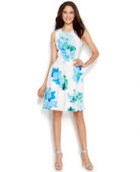 calvin klein floral print a line scuba dress in blue lyst