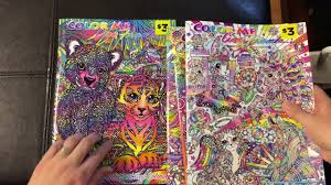 lisa frank coloring book color me flip through review youtube