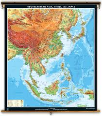 South East Asia Map Klett Perthes Extra Large Physical Map Of Southeastern Asia China