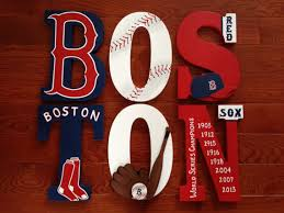 custom hand painted boston red sox letters baseball team world
