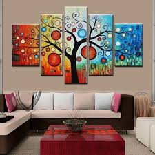 hand painted modern abstract apple tree oil painting on canvas 5 piece hand painted modern abstract apple tree oil painting on canvas large bright canvas art cheap home decoration artwork pictures t89