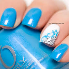 incredible sky blue nail paint with flower accent nail art picsmine