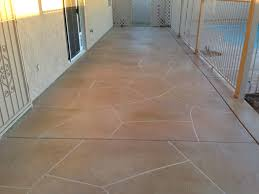 Patio Concrete Designs by Stained Decorative Concrete Overlay With Flagstone Finish On Back