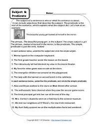 subject worksheet worksheets