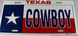 Texas State Flag Texas Cowboy Tx State Flag Aluminum Embossed License Plate Dmse