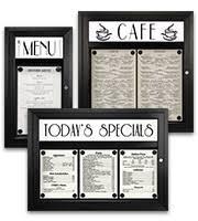 restaurants with light menus outdoor menu cases indoor restaurant display cases lots of menu
