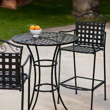 furniture black wrought iron outdoor furniture with wrought iron belham living wrought iron bar height bistro set by woodard