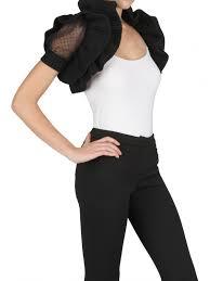 black shrug sweater lyst valentino wool knit tulle shrug sweater in black