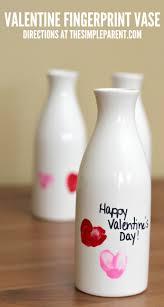 easy valentine crafts for preschoolers fingerprint vase