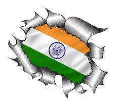 Flag It Stickers Ripped Torn Metal Design With India Indian Flag Motif External
