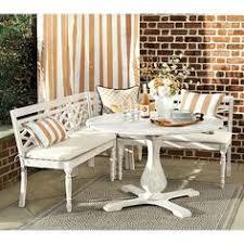 Whitewash Bench Ceylon Whitewash 3 Piece Dining Banquette Set Furniture
