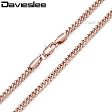 wholesale jewelry necklace chains images Davieslee 585 rose gold filled necklaces for women flat cut round jpg