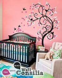 Wall Tree Decals For Nursery Baby Nursery Decor Curvy Plant With Pink Flower Flying Baby