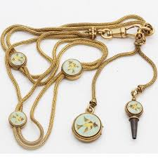 pocket watch chain necklace images Antique victorian watch fob chain necklace locket 18k gold falize jpg