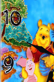 Home Decor Hours Wall Clock 12 Hours Quartz Stained Glass Paint Winnie Pooh Bedroom