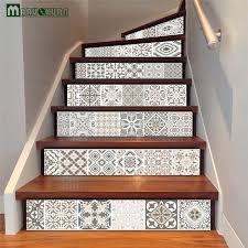maruoxuan 6pcs set arabic style tile stairs stickers corridor