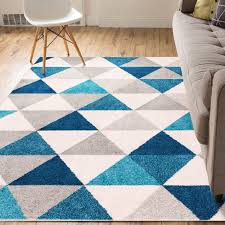All Modern Area Rugs Mystic Alvin Modern Abstract Triangle Geometric Blue Area Rug