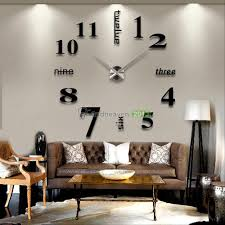 modern diy large wall clock 3d mirror effect sticker decal home