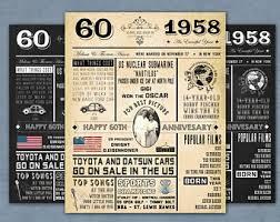 birthday gift 60 year 60 years ago etsy