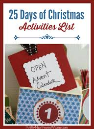 celebrating the 25 days of activities list