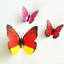 colorful design art 3d butterfly wall stickers decor plastic