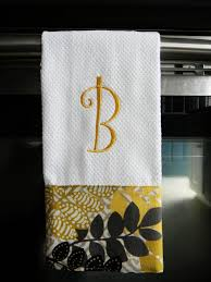 Kitchen Towel Craft Ideas Monogrammed Kitchen Towel In Yellow And Black 13 50 Via Etsy